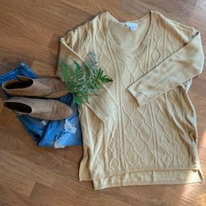 Camel Cable Knit Maternity Sweater